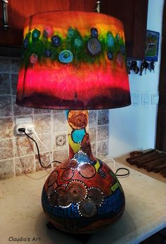 "Gourd lamp ""MEXICO"" and my textile painted lampshade  http://josephclaudia.wix.com/holyland-art"