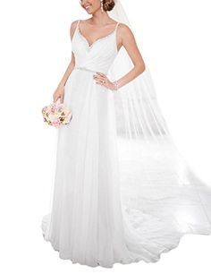 OYISHA 2016 Backless Chiffon Beach Wedding Dress Aline Beaded Bride Gown WD176 White 16 * More info could be found at the image url.