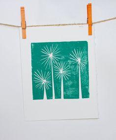 Teal Trees Mid Century Modern Art linocut print 8x10. $24.00, via Etsy.