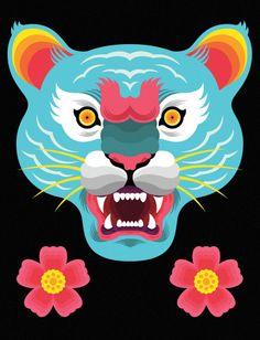 """Malayan Tiger"" by Benjamin Lam Xiu Qin Tiger Painting, Monkey Art, Grey Art, Postcard Design, Chinese New Year, Contemporary Art, Street Art, Cross Stitch, Quilts"