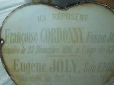 Antique French Porcelain Enamel Memorial Heart Plaque by algae808, $60.00