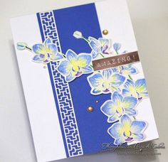 Amazing Orchids in Blue & Yellow- with Altenew's Oriental Orchid stamp set & Penny Black's geometric border die by Thoughts....in lines and colors:
