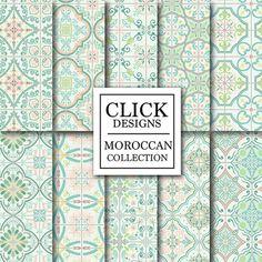 Schon Marokkanische Digital Paper: Retro Minze Marokkanische Fliesen 10 Vintage  Digital Papier Verpacken Retro