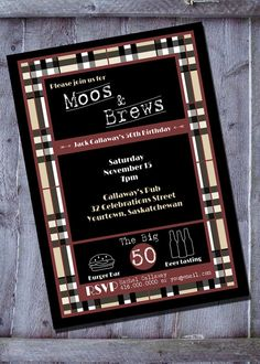 Moos and Brews mens party invitation by SimplySoirees on Etsy. Beers and burgers party invitation. Great for a 30th, 40th, or 50th birthday party.