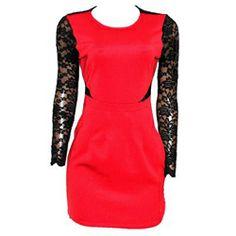Body Casual Red Bodycon/Black Net Ladies Pocket Dress