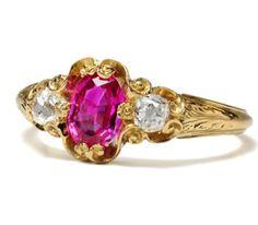 $1950 Vivid Victorian Glamour: Ruby Diamond Ring - The Three Graces