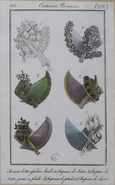Bonnets, 1818 costume parisien