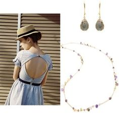 Accessorize your summer dress with soft and feminine pieces like these gray drop earrings and the multi gem necklace.