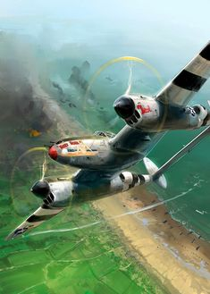 ArtStation - Lightning DDay, Julien Lepelletier Board: Planes, Jets, and Helicopters Ww2 Aircraft, Fighter Aircraft, Military Aircraft, Fighter Jets, Fighter Pilot, Lockheed P 38 Lightning, Lightning Photos, Aircraft Painting, Airplane Art