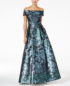 41a0bd13f89b Calvin Klein Off-The-Shoulder Brocade Gown & Reviews - Dresses - Women -  Macy's
