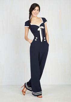 Seafare Thee Well Jumpsuit. Point your bow toward this navy blue jumpsuit and you'll be setting sail for perfection in no time flat! #blue #modcloth