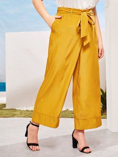 Plus Self Tie Waist Wide Leg Pants Teen Fashion, Fashion News, Plus Size Pants, Autumn Summer, Vintage Style Outfits, Wide Leg Pants, Autumn Fashion, Casual Outfits, Legs
