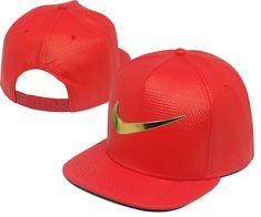 Men s Nike Jumbo Gold Metal Heritage Swoosh Logo Faux Leather Baseball  Snapback Hat - Red Nba ae0c77446