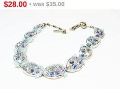 Rhinestone & Blue Leaf Necklace - Vintage Mid Century Aurora Borealis Crystal Rhinestones - 1950's era Jewelry