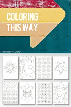#ShShPrintables Stars coloring pages for grown ups | Printable adult coloring book on Etsy | Abstract coloring pages for adults, star patterns