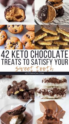 42 Best Low Carb Keto Chocolate Dessert Recipes to Satisfy Your Sweet Tooth - Keto Whoa Enjoy all the goodness that is chocolate guilt-free. These 42 Best Low Carb Keto Chocolate Dessert Recipes will satisfy all your cravings and more! Keto Chocolate Chip Cookies, Low Carb Chocolate, Chocolate Treats, Keto Cookies, Diabetic Cookies, Chocolate Frosty, Chocolate Fudge, Keto Foods, Ketogenic Recipes