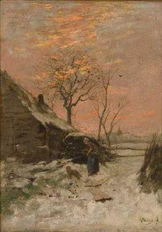 Anton Mauve - Winterlandschap (Boerderij met vrouw en hond in de sneeuw)