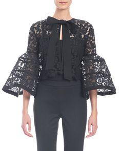 "Carolina Herrera floral-lace jacket. Approx. 18.5""L down center back. Jewel neckline; hidden button front. Three-quarter bell sleeves. Slim silhouette. Scalloped, cropped hem. Cotton/nylon/viscose. Li"