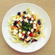 Feta cheese, blueberries, cherries