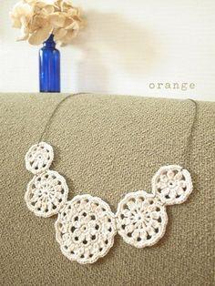 orange motif necklace * new