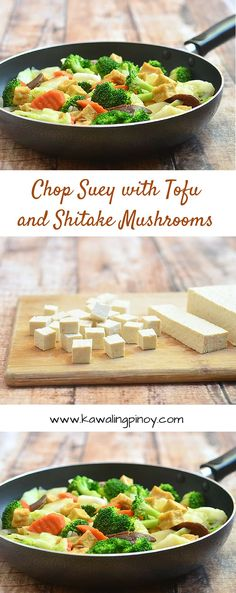 Chop Suey with Tofu and Shitake Mushrooms is a vegan stir-fry dish made with tender-crisp broccoli, carrots, cabbage, tofu cubes and mushrooms