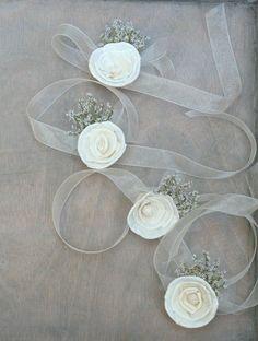Soft White Wildflower Organza Wrist Corsage by TheSunnyBee