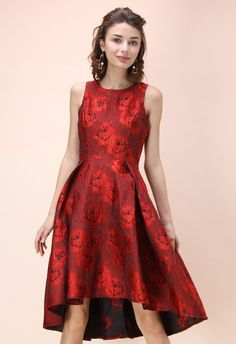 Peonies Glam Embossed Jacquard Waterfall Dress in Red