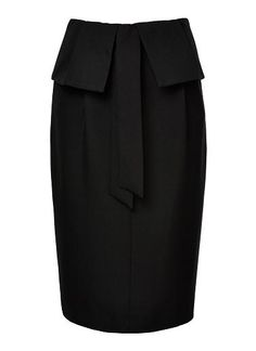 See Heritage - Polyester Paper Bag Waist Skirt. Comfortable yet neat fitting silhouette features a paper bag waist with tie and midi hem. Available in Black as shown. Fashion Clothes, Fashion Outfits, Seed Heritage, Work Outfits, Waist Skirt, Peplum Dress, Style Me, Footwear, Silhouette