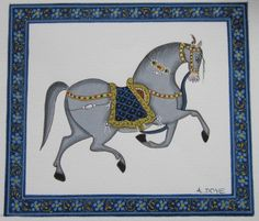 Ette's Artwork: April 2012 Mughal Paintings, Islamic Paintings, Indian Art Paintings, Mini Paintings, Animal Paintings, Painting Gallery, Painting Tips, Painting Art, Horse Illustration