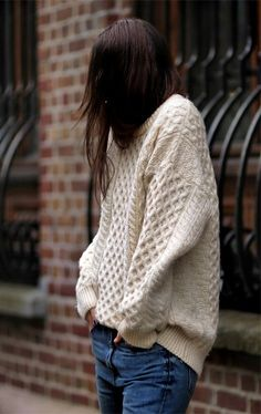 Love a cozy slouchy cable sweater. Perfect for the holidays. #style #fashion