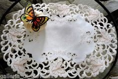 Victorian Wings Lace Placemat Doily Cream Butterflies Butterfly Vintage Style | eBay