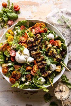 Pesto Chicken Caesar Salad with Tomatoes and Burrata | halfbakedharvest.com Halloumi, Soup And Salad, Pasta Salad, Farro Salad, Lentil Salad, Rice Salad, Shrimp Salad, Salad Bar, Quinoa Salad