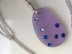 Lavender Sea Glass Pendant, Pale Purple Necklace