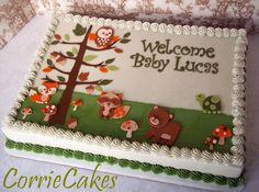 64 Trendy baby shower cake for boys cupcakes woodland animals Baby Shower Sheet Cakes, Baby Shower Cakes For Boys, Baby Girl Shower Themes, Baby Shower Cookies, Baby Boy Shower, Baby Showers, Cake Pops, Shower Bebe, Yoshi
