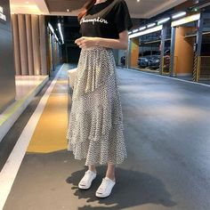 May 2020 - Midi Skirts Korean Bohemian Ruffles Beach Holiday Polka Dot - ecofashionova Bohemian Skirt, Boho Skirts, Cute Skirts, Midi Skirts, Jean Skirts, Denim Skirts, Korean Skirt Outfits, Long Skirt Outfits, Long Skirt Fashion
