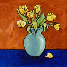 Yellow Tulips In A Turquoise Vase by Dale Moses Yellow Tulips, Spring Sale, Painted Rocks, Wrapped Canvas, My Arts, Design Inspiration, Vase, Throw Pillows, Turquoise