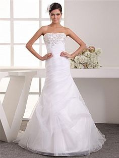 Beaded and Embroidered Sweetheart Organza over Satin Mermaid Wedding Dress - USD $228.00
