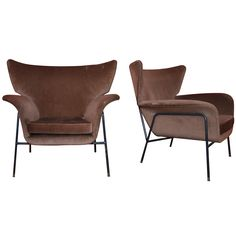 Two 1950s  Winged Armchairs