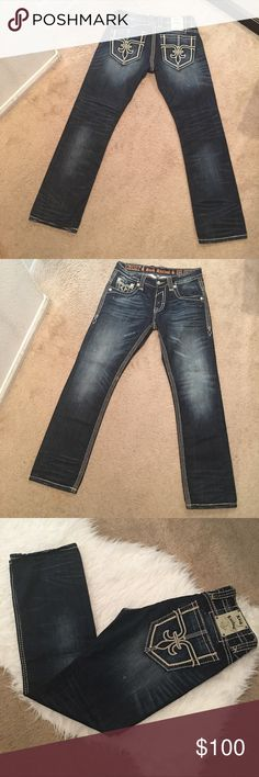"""[Rock Revival] Jeans New Condition Rock revival jeans in new condtion no defects.  Approx Inseam 33"""", Rise 9 1/2"""", Waist 33"""", Ankle Opening 8 1/2"""" Rock Revival Jeans Straight"""