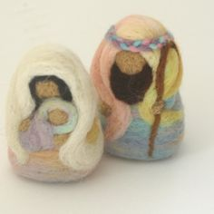 100% wool and needlefelted. Nice to have a nativity that's really touchable, especially for kids. I like that it's kid-friend AND not plastic.