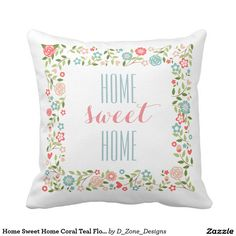 Miss Pillow Decorative 18 x 18 Inch Cotton Pillow Cover Cushion Case, Home Sweet Home Coral Teal Floral Wreath Pattern Throw Pillow Monogram Wedding, Floral Wedding, Custom Pillows, Decorative Pillows, Coral Throw Pillows, House Gifts, Elegant Flowers, Cotton Pillow