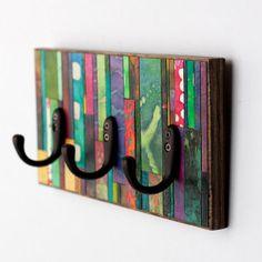Wall Coat Rack Colorful Mosaic Striped Handmade Paper Reclaimed Wood