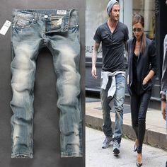 Wholesale Retail Itely style Designer Mens Jeans,Light blue Color,Disel Ripped bike Jeans Men,Denim AD Brand cowboy pants.C201 => Price : $22.99