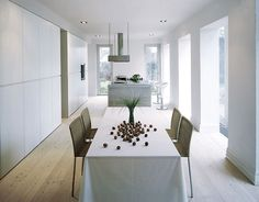 Kitchen from Danish www. Danish Kitchen, White Rooms, Black N White, Home And Living, Interior Inspiration, Storage Spaces, Dining Room, Kitchens, Furniture