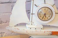Shabby Chic Wooden Sail Boat Clock /// White Rustic Beach Nautical Ship Yacht Home Decor  FREE SHIPPING