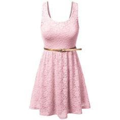 JJ Perfection Women's Sleeveless Lace Dress with Skinny Belt ($20) ❤ liked on Polyvore featuring dresses, no sleeve dress, skinny belt, pink cocktail dress, pink sleeveless dress and pink dress