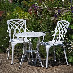 cool White Ivy Bistro Table and 2 White Rose Chairs Set
