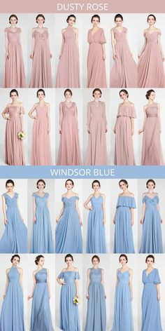 Bridesmaid dresses - dusty rose and windsor blue bridesmaid dresses bridesmaiddress weddingcolors bridalparty weddinginspiration Dusty Blue Bridesmaid Dresses, Dusty Rose Dress, Wedding Bridesmaids, Prom Dresses, Wedding Dresses, Bridesmaid Color, Bridesmaid Dress Styles, Evening Dresses, Windsor