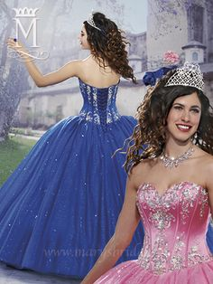 A strapless Quinceanera  ball gown made of satin and sparkling tulle.