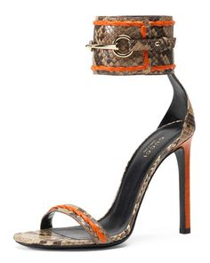 Ursula Python Ankle-Wrap Sandal, Orange by Gucci at Neiman Marcus. Might have to put these on the birthday list. Orange Heeled Sandals, Orange High Heels, Neon Sandals, Orange Shoes, Orange Orange, Ankle Strap High Heels, Ankle Wrap Sandals, Shoe Boots, Shoes Heels